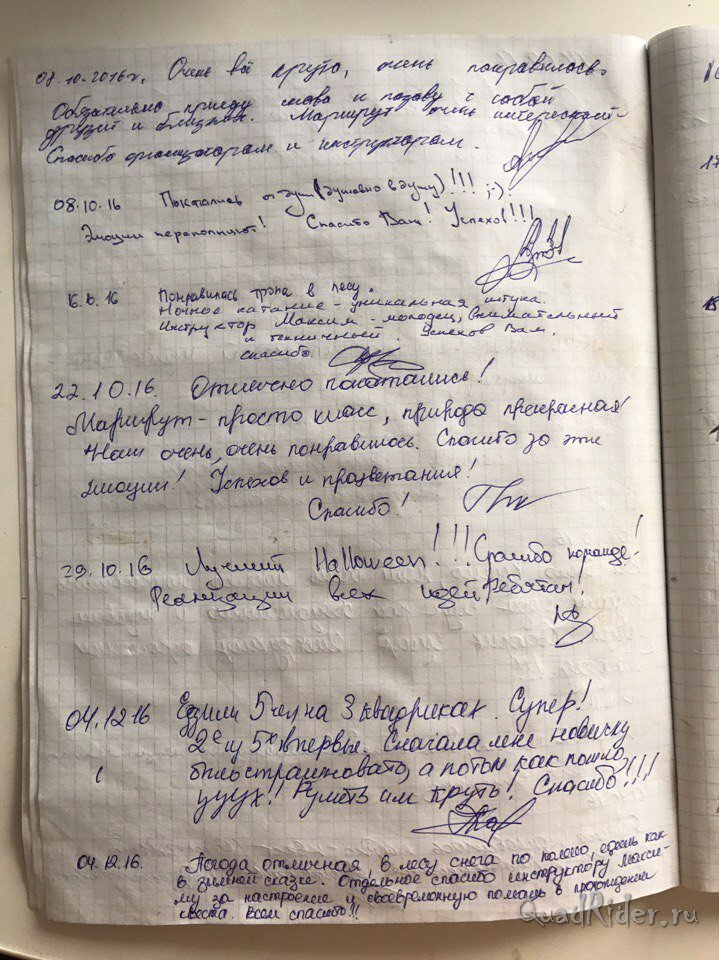 Журнал отзывов о катании на квадроциклах25